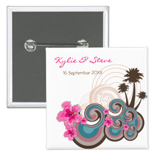 Tropical Waves & Pink Hibiscus Name Tag / Favor 15 Cm Square Badge