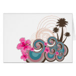 Tropical Waves & Pink Hibiscus Note Card