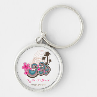 Tropical Waves & Pink Hibiscus Thank You / Gift / Silver-Colored Round Key Ring