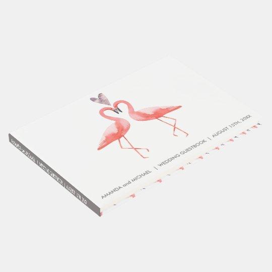Tropical Wedding Guest book | watercolor flamingos