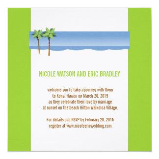 Tropical Wedding Invitations Palm Trees Linen