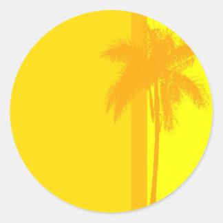 Tropical Wedding Palm Tree Invitation Seal Round Sticker