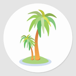Tropical Wedding Palm Trees Envelope Seal Round Sticker