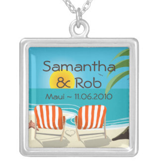 Tropical Wedding Personalized Necklace