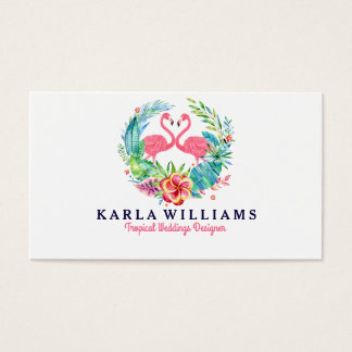 Tropical Wedding Planner Colorful Floral Wreath Business Card