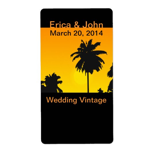Tropical Wedding Wine Labels Labels Palm Trees