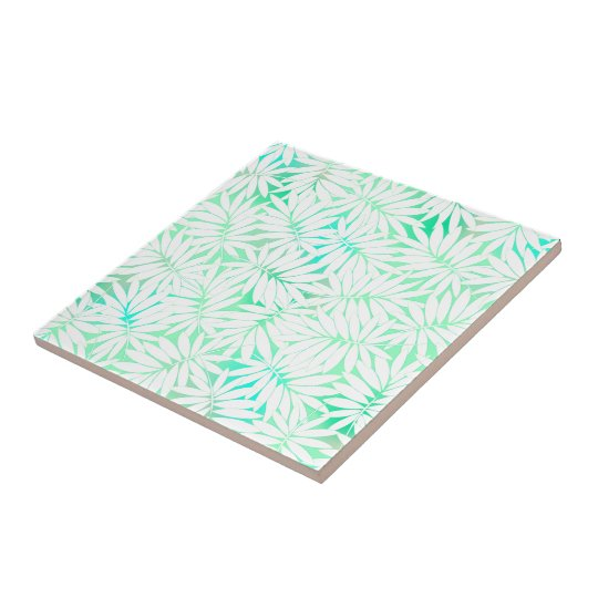 Tropical white and green leaves small square tile