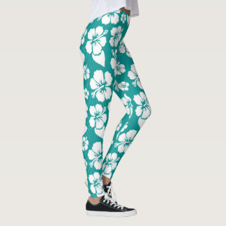 Tropical White Hibiscus Blooms on Turquoise Stripe Leggings