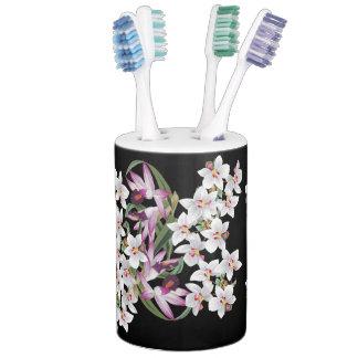 Tropical White Orchid Flowers Bath Set