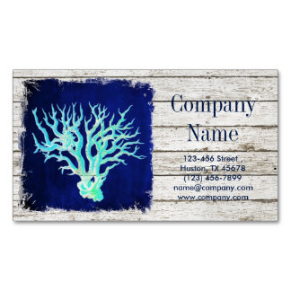 tropical whitewashed wood nautical coral reef Magnetic business card