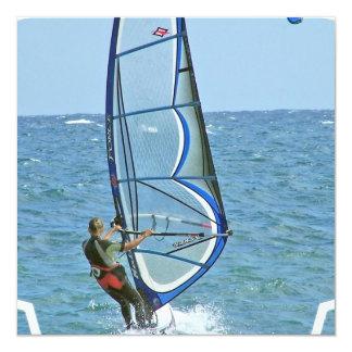 "Tropical Windsurfing Invitations 5.25"" Square Invitation Card"