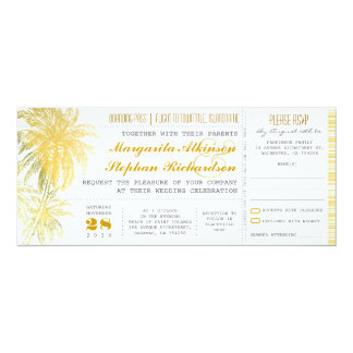 Tropical yellow beach wedding ticket-boarding pass 10 cm x 24 cm invitation card