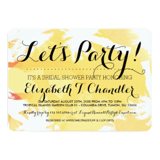 Tropical Yellow Bridal Shower Party Invites