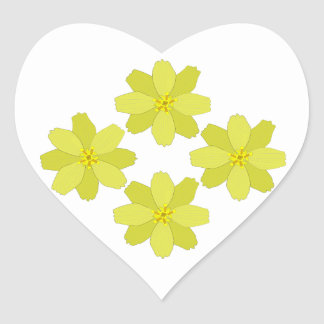 Tropical Yellow Bush Flowers Heart Sticker
