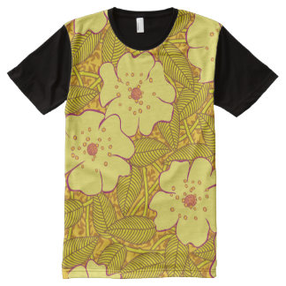 Tropical yellow Flowers Pattern All-Over Print T-Shirt