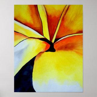 Tropical Yellow Frangipani flower original art Poster