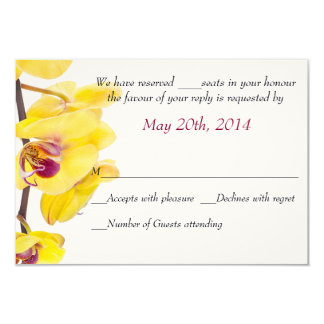 Tropical Yellow Orchid Wedding Response Card