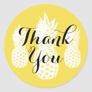 Tropical yellow pineapple fruit thank you stickers