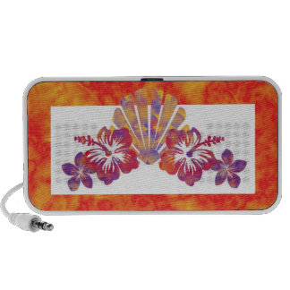 Tropical Yellow, Purple, Blue, and White Arrangeme Mp3 Speakers