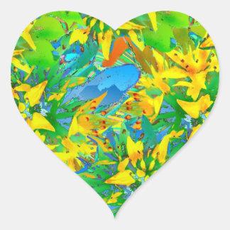 Tropical Yellow Sedum Floral Pattern Heart Sticker