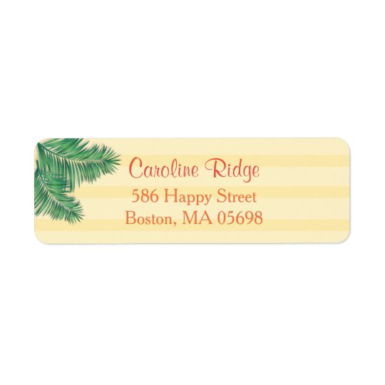 Tropical Yellow Stripes Return Address Labels