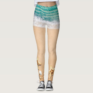 Tropical Yoga Beach Starfish Summer Leggings