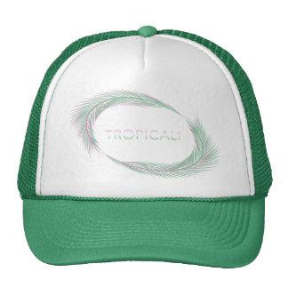 Tropicali palm leaves trucker - green/pink cap