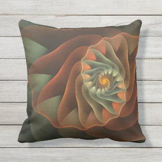 Tropicanna Orange and Green Abstract Spiral Cushion