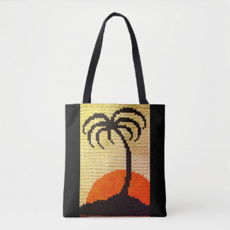 Tropics Palm Tree Silhouette Crochet Bright Sunset Tote Bag