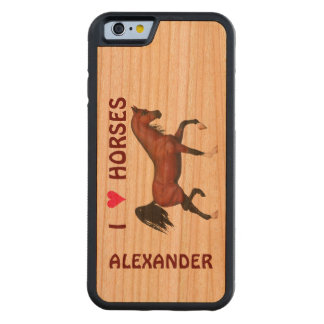 Trotting Bay Arabian Horse Brown I Heart Horses Carved® Walnut iPhone 6 Bumper Case