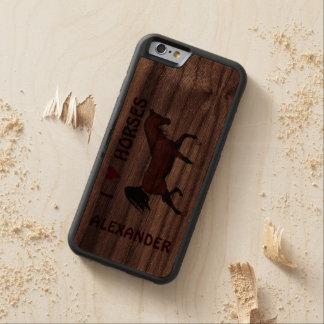 Trotting Bay Arabian Horse Brown I Heart Horses Carved® Walnut iPhone 6 Bumper Case