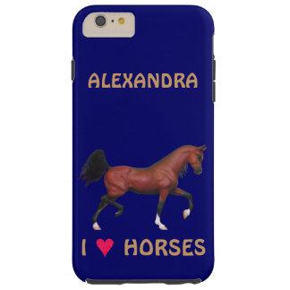 Trotting Bay Arabian Horse Brown I Heart Horses Tough iPhone 6 Plus Case