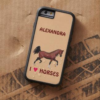 Trotting Bay Arabian Horse Brown I Heart Horses Tough Xtreme iPhone 6 Case