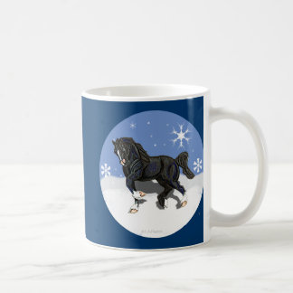 Trotting Black Welsh Cob Pony Stallion Coffee Mug
