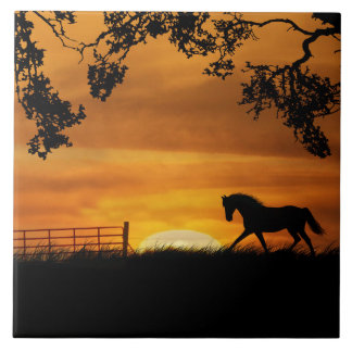 Trotting Horse and Sunrise Art Tile