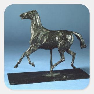 Trotting Horse (bronze) Square Sticker