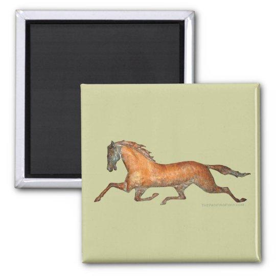Trotting Horse Square Magnet