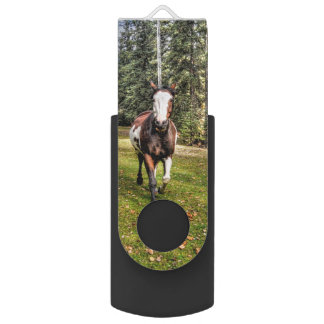 Trotting Pinto Paint Stallion on a Horse Ranch Swivel USB 2.0 Flash Drive