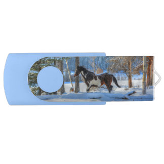 Trotting Pinto Paint Stallion Winter - Horse Ranch Swivel USB 2.0 Flash Drive