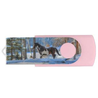 Trotting Pinto Paint Stallion & Winter Snows Swivel USB 2.0 Flash Drive