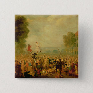 Troupe of Actors Performing on a Tightrope 15 Cm Square Badge