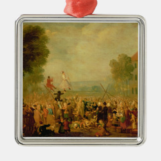 Troupe of Actors Performing on a Tightrope Christmas Ornament