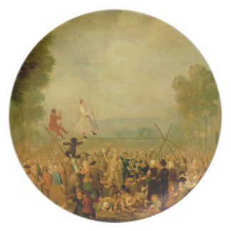 Troupe of Actors Performing on a Tightrope Plate
