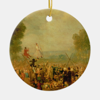 Troupe of Actors Performing on a Tightrope Round Ceramic Decoration