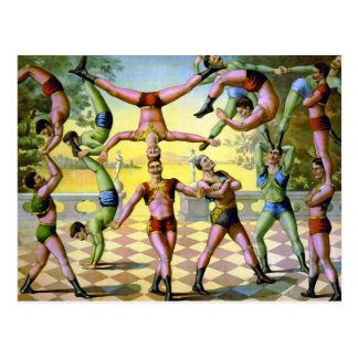Troupe of Male Acrobats Postcard