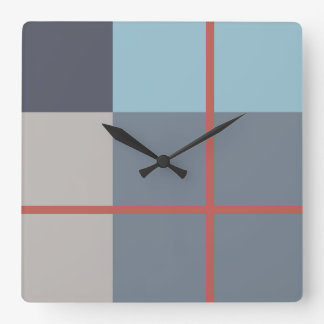 Trout Blue Gray Cotton Seed Orange Red Pattern Square Wall Clock