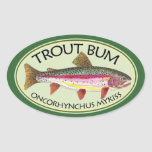 Trout Bum Fishing Oval Stickers