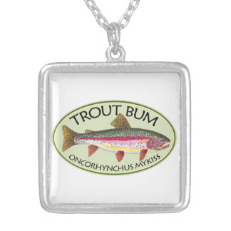 Trout Bum Fishing Silver Plated Necklace