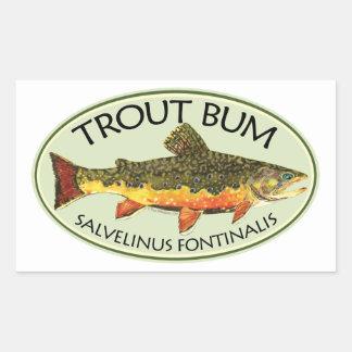 Trout Bum Fishing Rectangular Stickers
