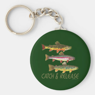 Trout Catch and Release Basic Round Button Key Ring